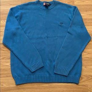 Men's Chaps medium blue sweater EUC nice and warm